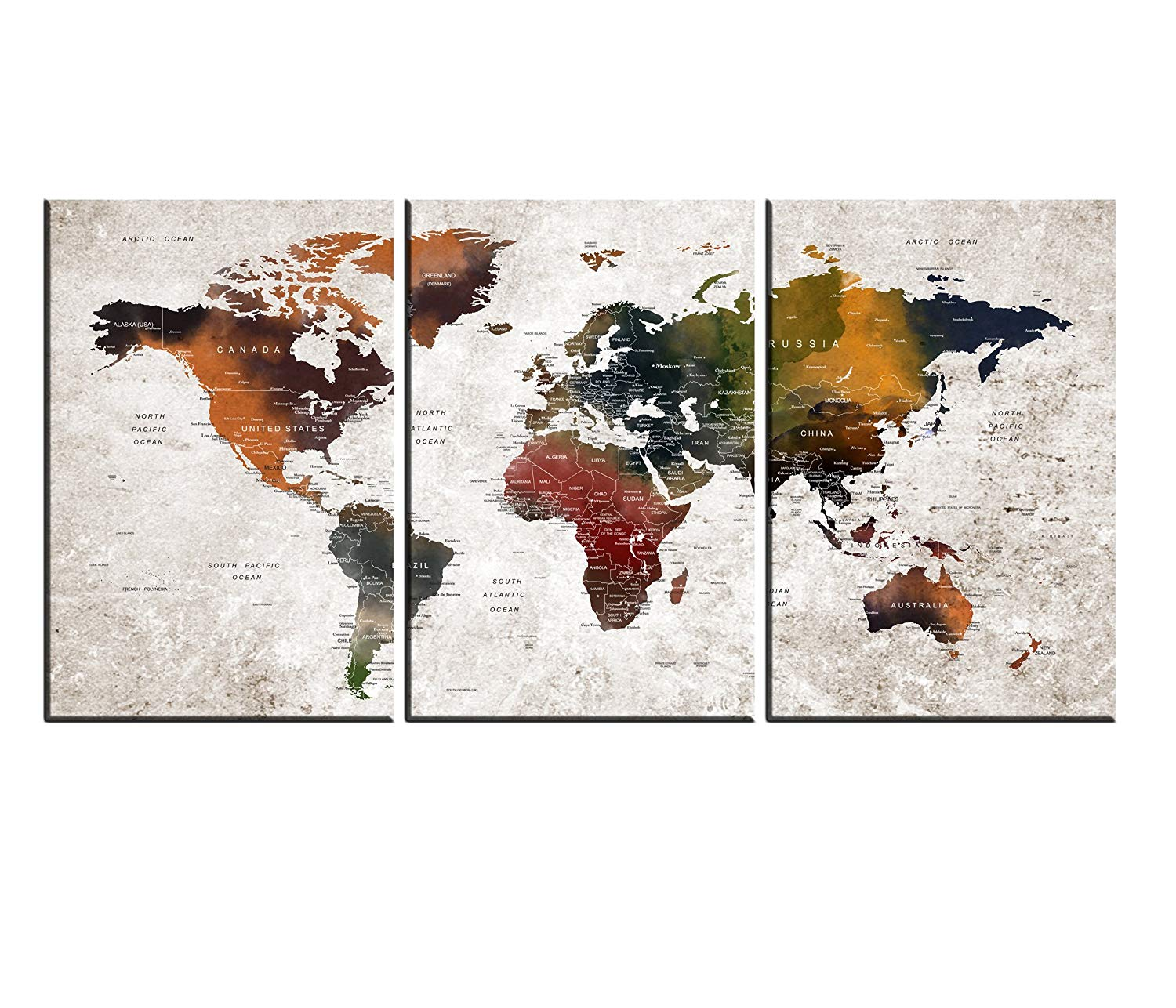 Push Pin World Map Art Canvas Print, Watercolor Map Poster Printed On Canvas Framed Map Of World Canvas Prints Wall Art Hr101