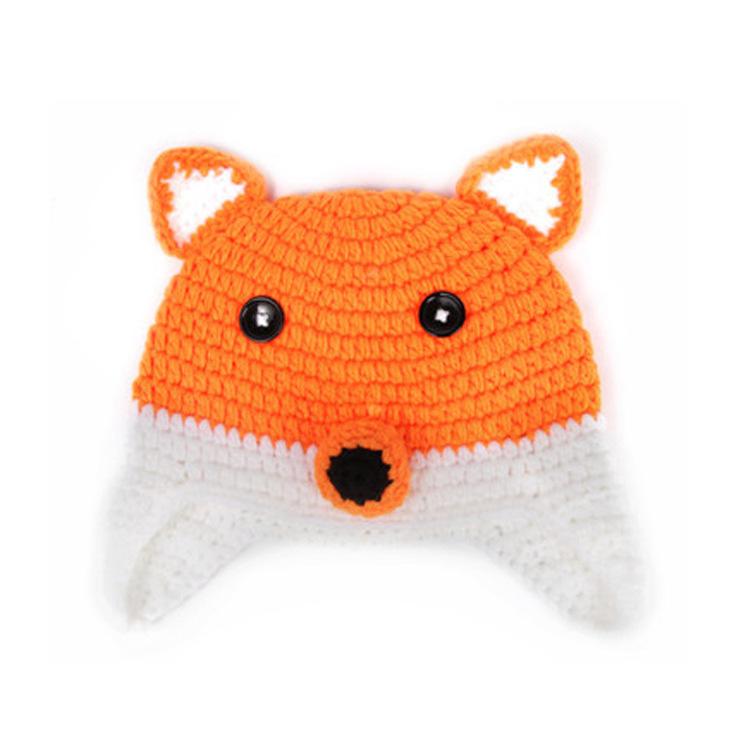 2015 Newborn Crochet Outfits Cap Fox Shape Funny Baby Hats Cotton Woolen  Touca Infantil Cartoon Newborn Crochet Outfits Caps 8ed81cfab3ae