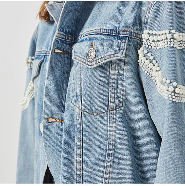 Wholesale new fashion style long sleeve jeans denim jacket women pearl coat