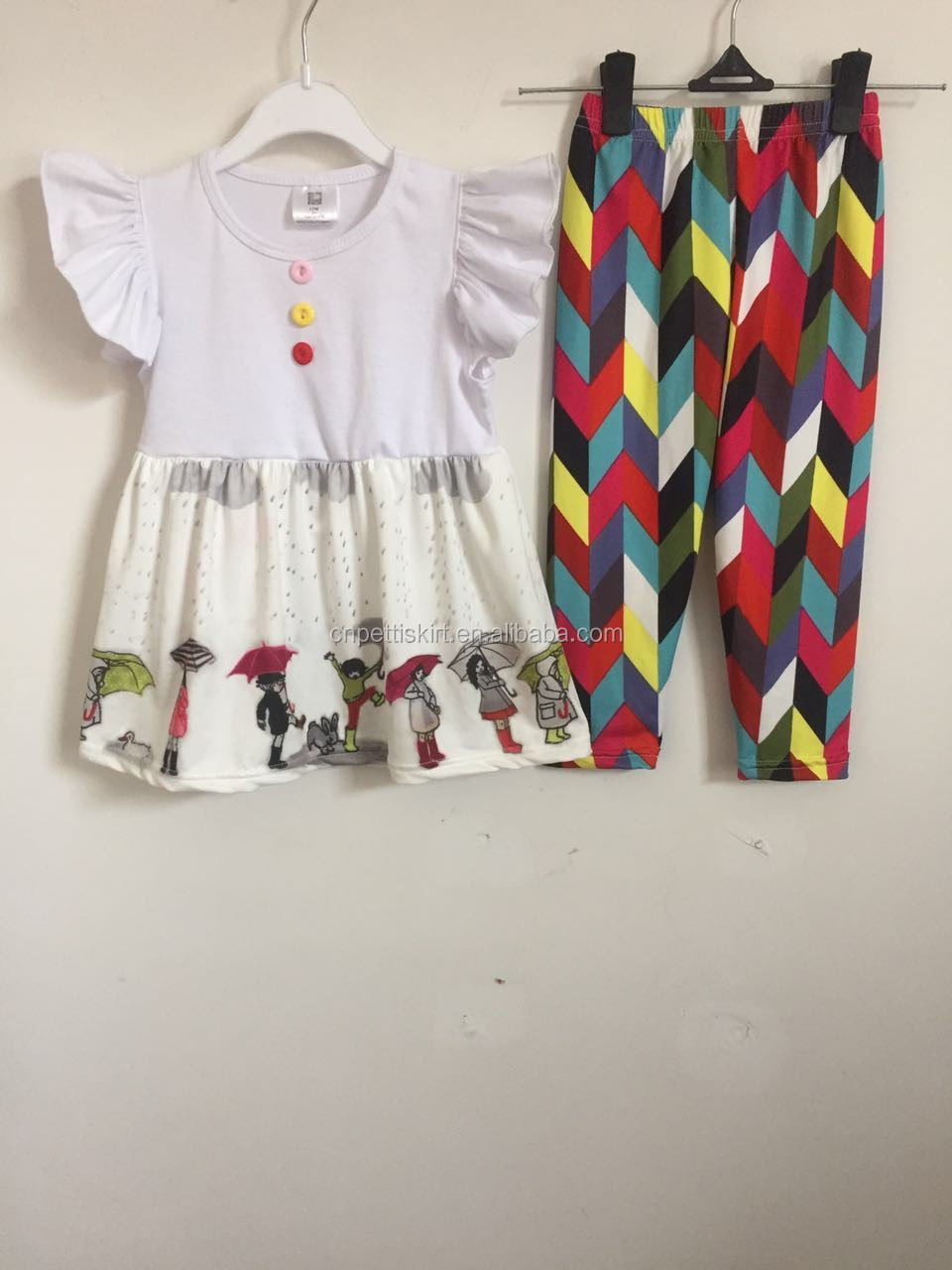 8c9278498 2017 cute little girl boutique remake clothing set fashion troll printing  top matching shorts ruffle girls
