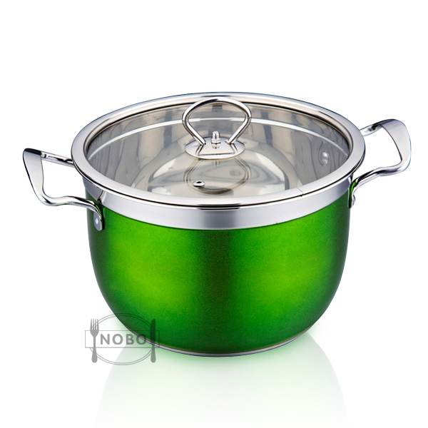 Set of 10 Double Bottom Soup Stock Pot Stainless Steel Royal Kitchen Cookware
