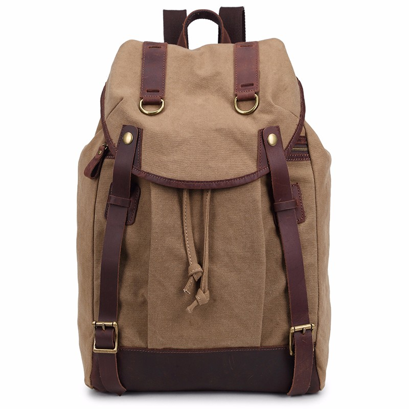 Vintage Canvas Backpack Leather / School Bag/ Rucksack/ Outdoor Travel Backpack