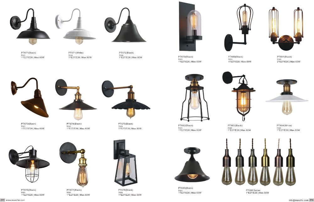 Vintage Iron Sconce Edison Bulb Outdoor Wall Lamp