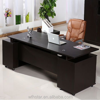 High End Office Furniture Supplier Wood Boss Desk Executive Table With Book Case