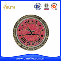 custom metal coin manufacturer with glitter and plating gold