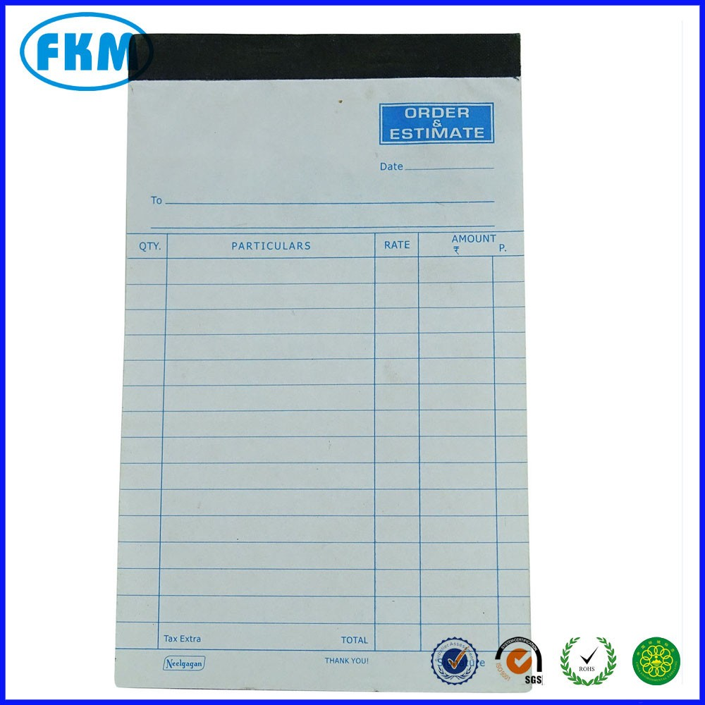 Sales Order Bill Book Notebook With Carbon Cash Memo - Buy Notebook ...