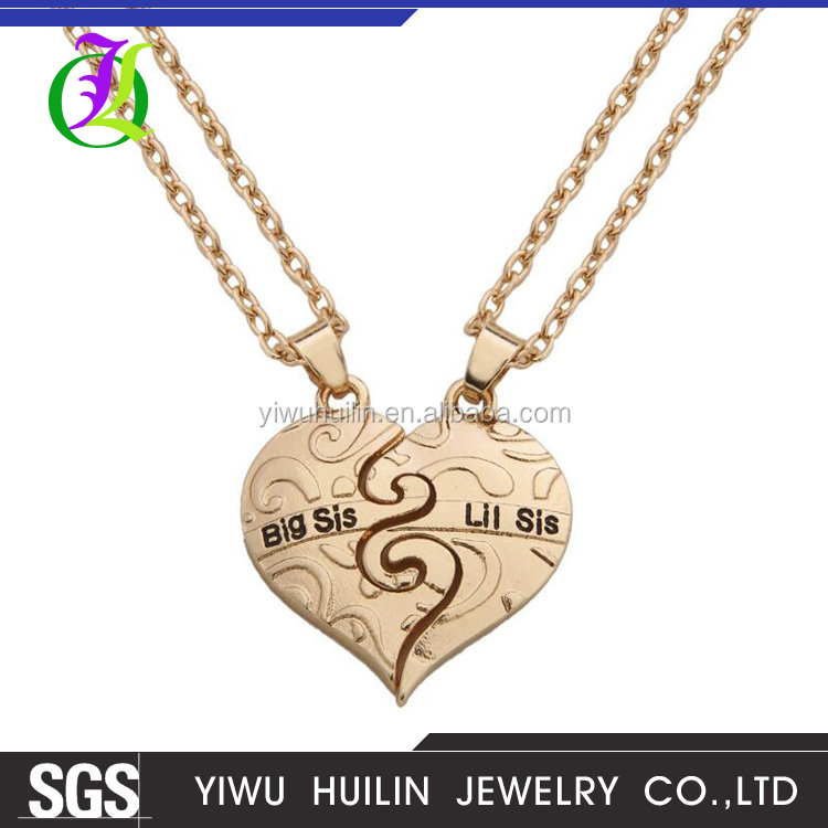 JTBC1089 Yiwu Huilin Jewelry Europe and the United States hot friends friends girl BIG SIS / LIT SIS two heart chain necklace