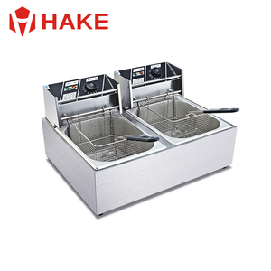 2 -Tank,2 -Basket Table Counter Automatic Commercial Stainless Steel Electric Deep Fryer for Sale