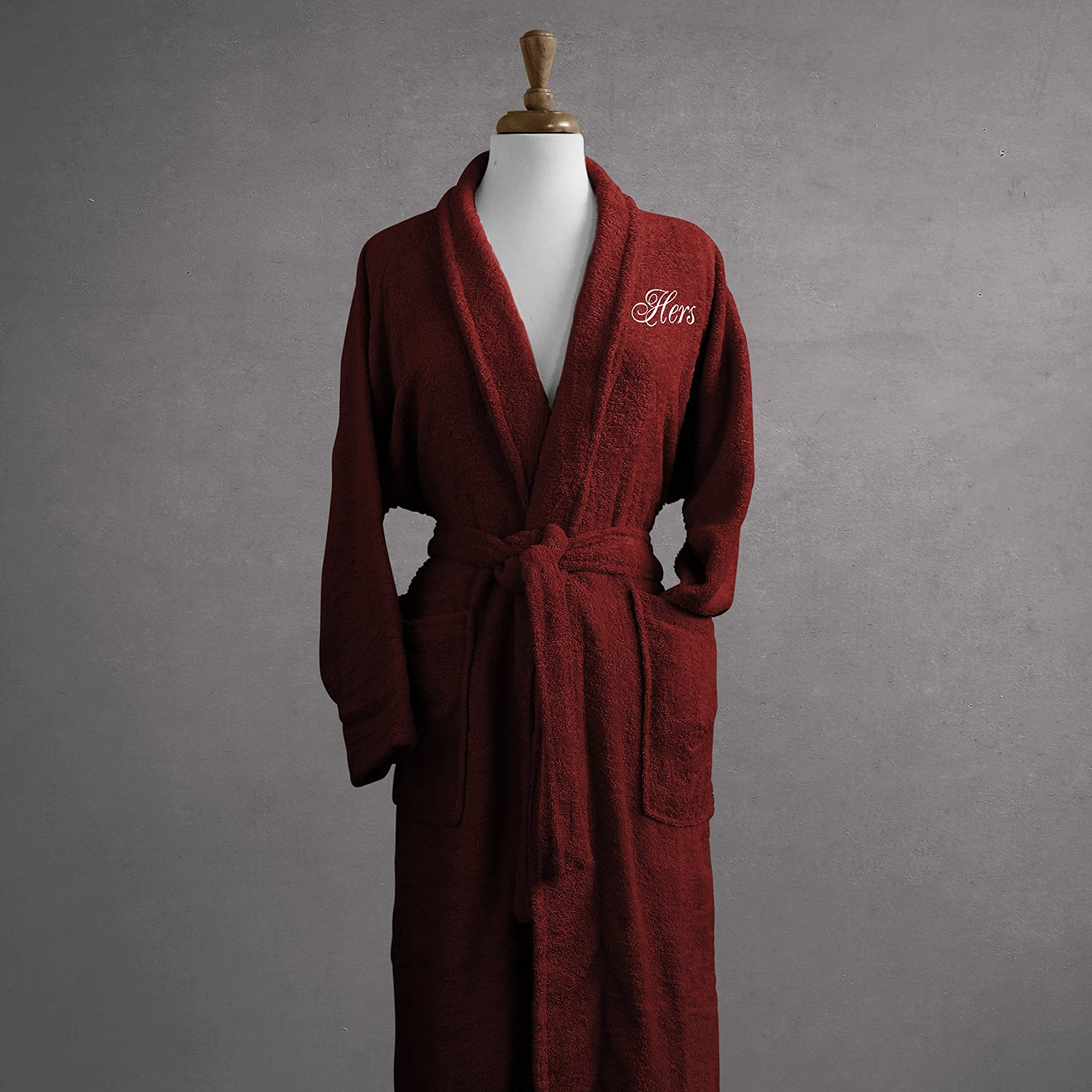 88f010208c Luxor Linens Salerno Egyptian Cotton His   Hers Terry Robe - Small -  Burgundy - Perfect Wedding Gift! - Hers