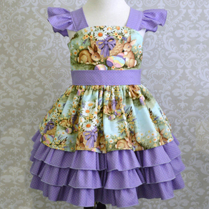 Lavender polka dot dress animal pattern frock 4 ruffles little ladies fashion dresses with pictures