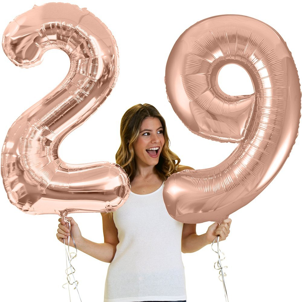 """34"""" Giant Rose Gold 29th Birthday Helium Quality Foil Mylar Balloon - Birthday Decorations & Supplies - Rose Gold (Number 29)"""