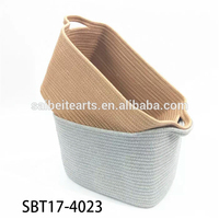 Wholesale Handmade Cotton Rope Sewing Home Laundry Storage Basket With Handles