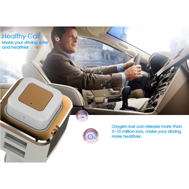 Портативный многофункциональный автомобильное зарядное устройство с кислородный бар и гарнитура Bluetooth 2 USB зарядка порты авто свежего воздуха очиститель