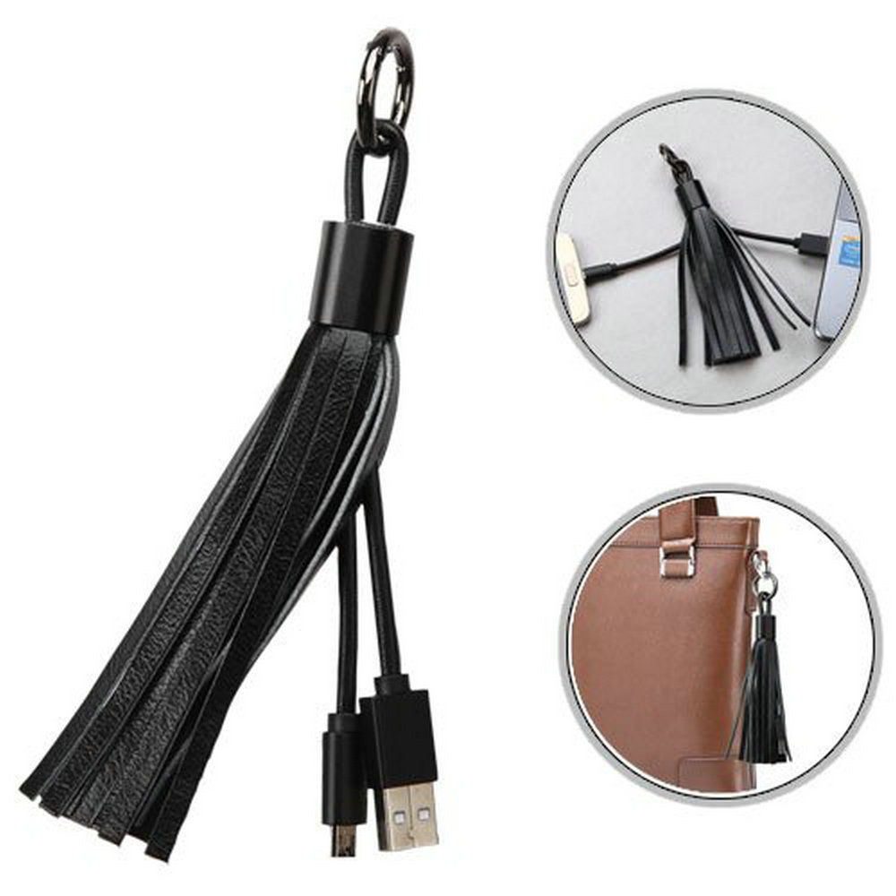 Multifunction Popular Products USB Leather Tassel Cable for Mobile phones Key Chain Charging Cable Lady Bag