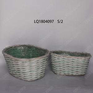 Hand weaved environmentally willow basket without handle