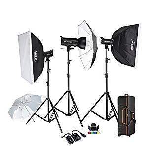 Godox Proffesional 1200W Photography Flash Studio Strobe kit Three 400w Sk400 Monolight Lighting Kit