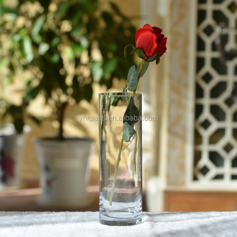 wholesale cheap tall cylinder handmade clear antique wedding glass vase for home decor