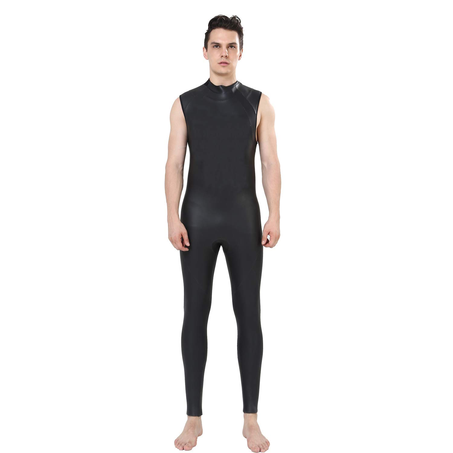 c3e0828851f Get Quotations · FLEXELL Sleeveless Wetsuit Mens 5mm CR Neoprene Diving  Suit Boys Smooth Skin One Piece Snorkeling Swimming