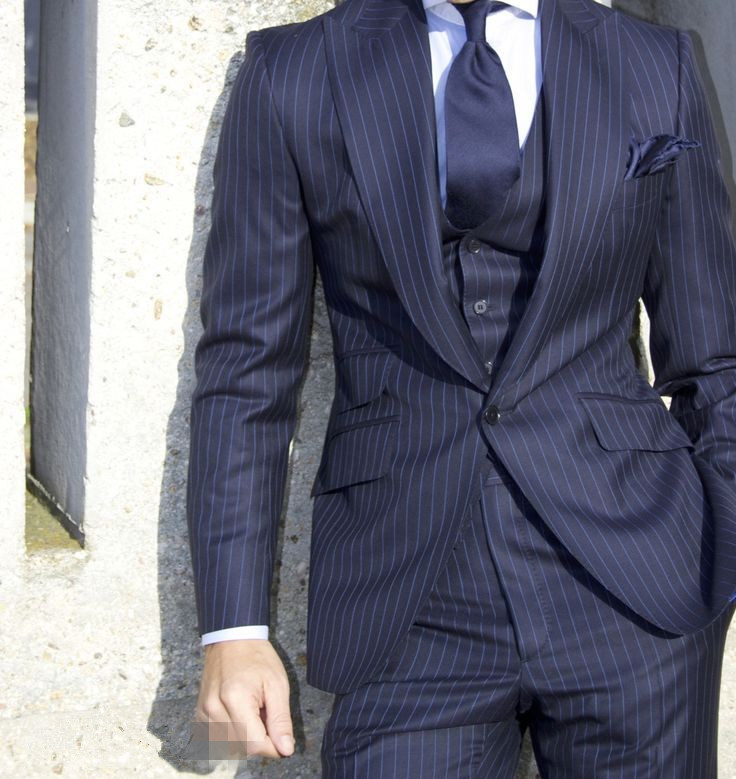 Wool Made Black 3 Piece Custom-made Wedding Men Suits Made In ...