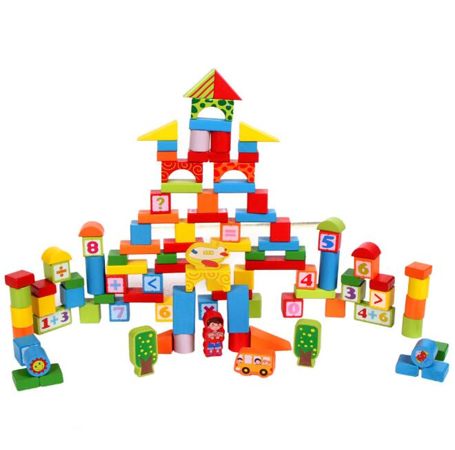 2017120605 Faithidmarket Wooden Building Blocks Set - 100 Blocks in 4 Colors and 9 Shapes