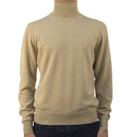 Mens cashmere beige pullover sweater plain turtleneck sweater