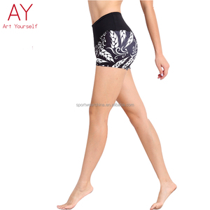 Soft and comfort printed women yoga sport shorts