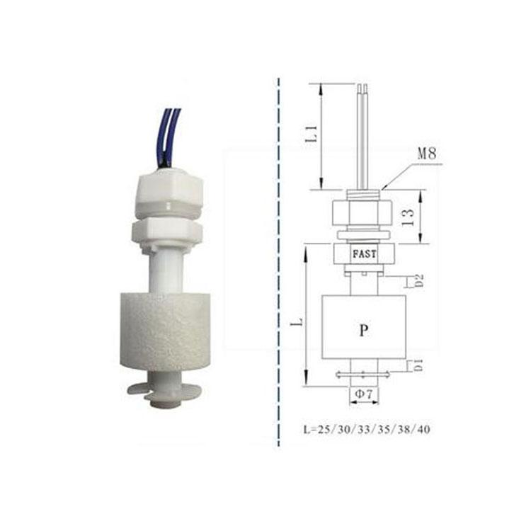 Tanks Horizontaal Vloeistof vlotter Water Level Sensor NO NC Black And White