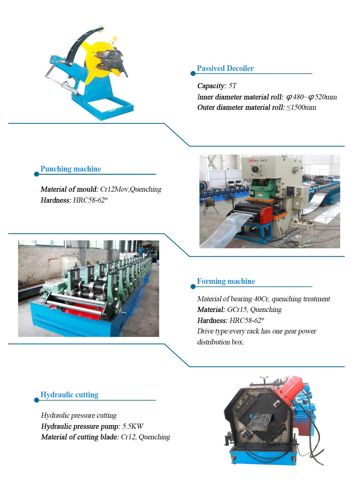 Hydraulic Cutting Scaffolding Walk Board Roll Forming Machine With Press Machine