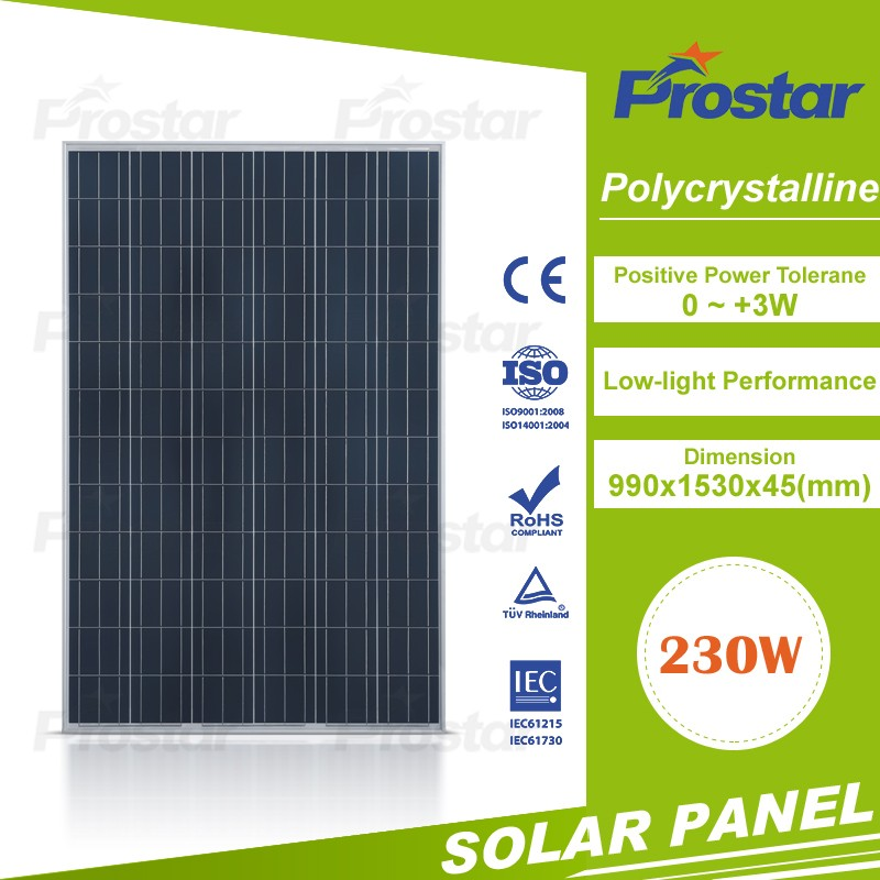 Prostar poly 230W thin film solar panel with CE/TUV Certificates
