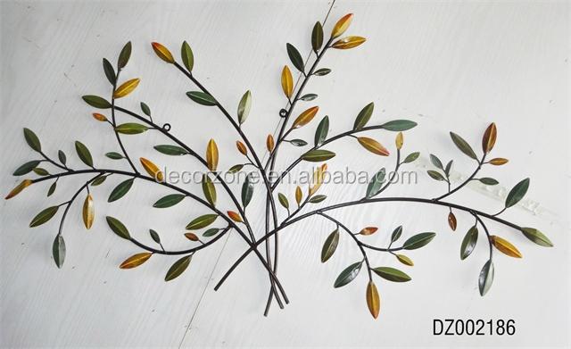 M tal arbre et feuilles d coration murale art autres for Decoration murale feuille metal