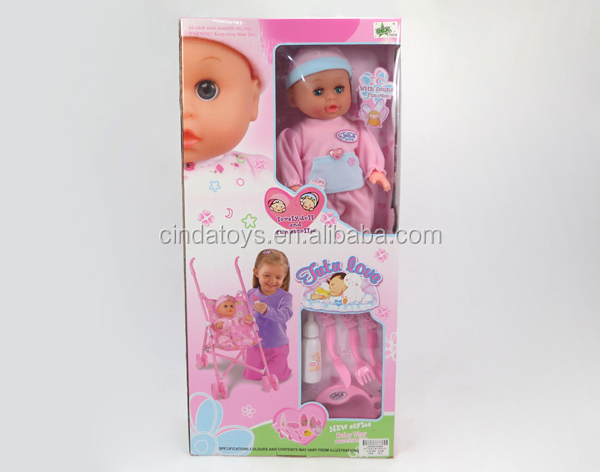 Cheap 14inch doll with 4 sound IC Plastic children stroller hazel fake baby for sale