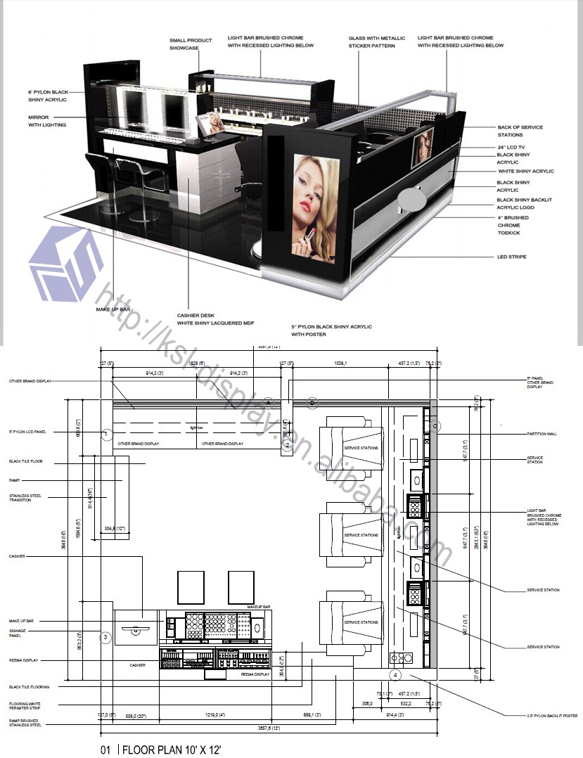 Cosmetic Exhibition Stand Design : Modern portable mall cosmetic exhibition booth