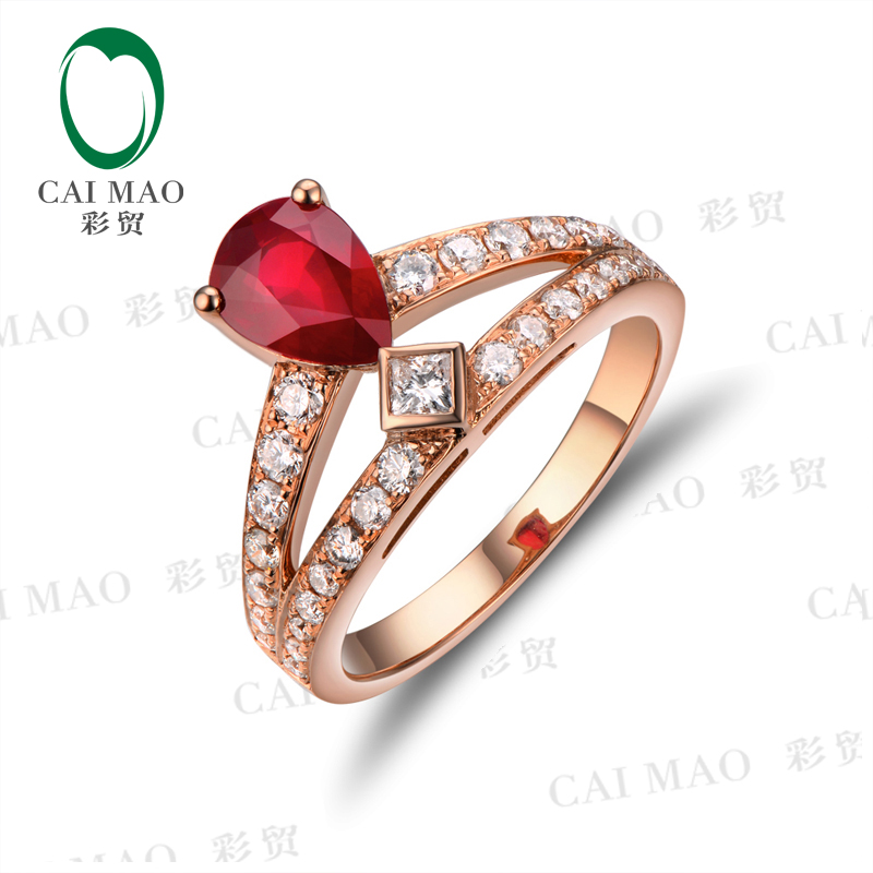 Elegant Pear-Shaped Ruby And Princess Diamond Two Stone Ring