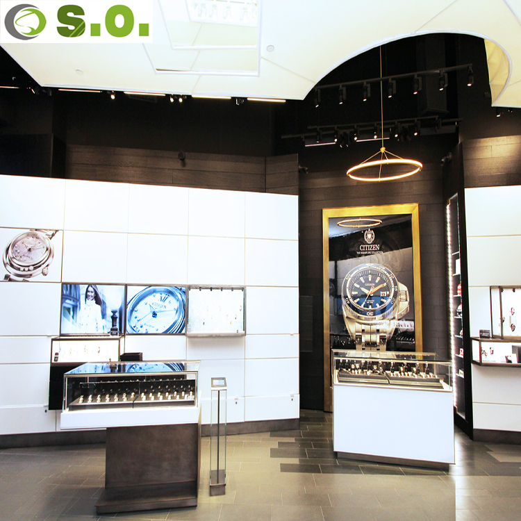 Customized high end wood watch display counter jewelry store interior design for shop decoration