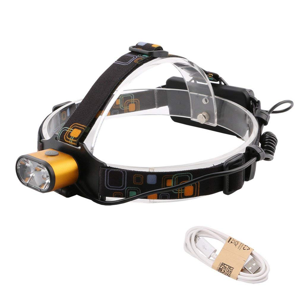 T6 5000LM Rechargeable LED Front Head Lamp with Adjustable Headband, 3 Modes Headlight, 18650 Battery with USB Charging, Waterproof Flashlight for Hunting Camping (1PCS) HJKL