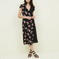 Hot sales spot print and spliced floral women dress