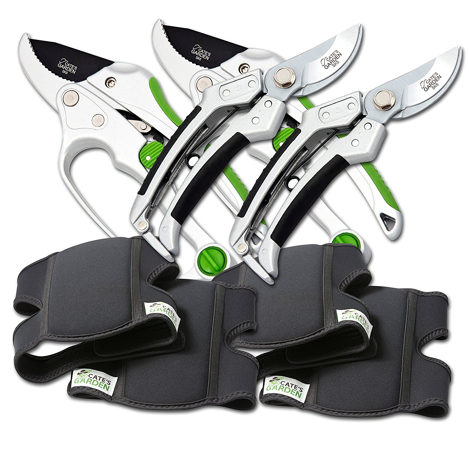 "Cate's Garden 6-Piece Garden Tool Set- 2 Ultra Comfort Knee Pads, 2 Bypass & 2 Ratchet Pruning Shears 8"" Easy Action Anvil-type Premium Hand Pruner - Heavy Duty SK5 High Carbon Blades"