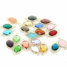 Gem stone Imitation Zircon Glass Faceted Bezel Framed Connector Charm For DIY Necklace Bracelet