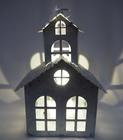 nature color christmas LED lighted small house hanging ornaments xmas gifts for home mini house with angel /santa claus /