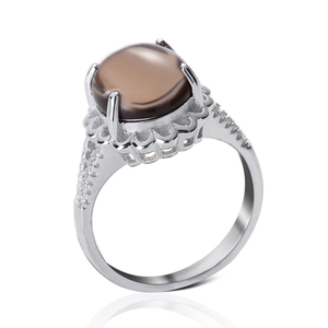 Hot sale beautiful lace agate stone silver ring