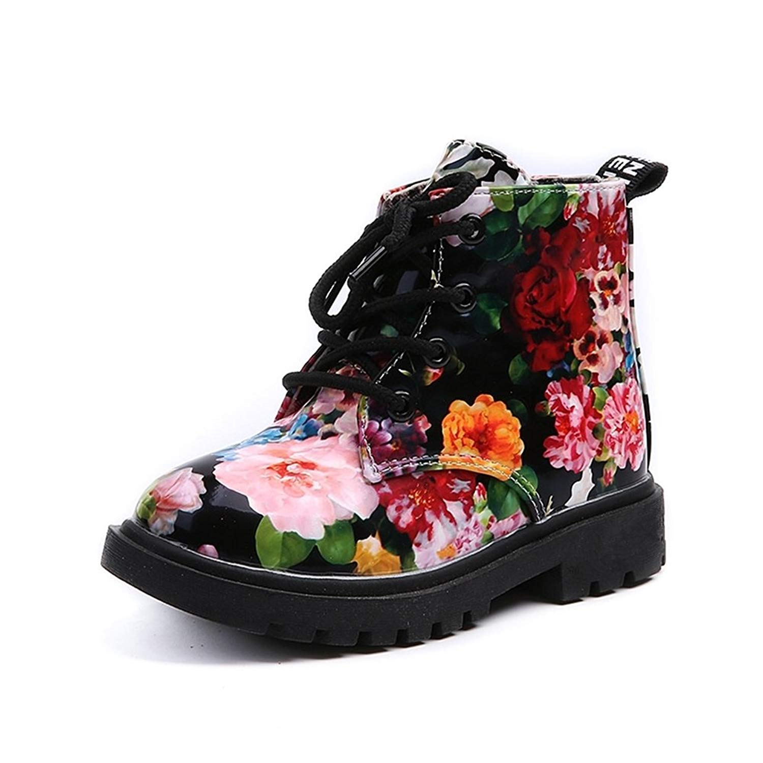 c67aef5b1706 Get Quotations · COMFY KIDS Boots Girls Boys Flower Print Lace up Warm Boots  Toddler Classic Shoes 607