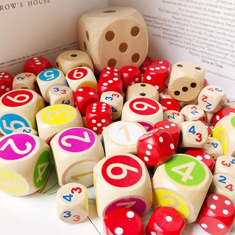 Цифровой номер или точка кубики Круглый угол для малыша игрушечные лошадки настольные игры деревянный индивидуальный заказ