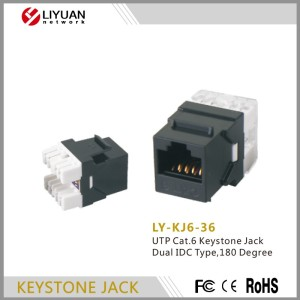 LY-KJ6-36 UTP CAT 6 unshielded Keystone Jack perfectly compatible with RJ45 connector