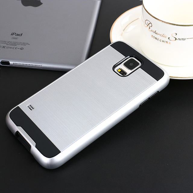 Mobile phone cases cover, combo brush case stand shockproof back shell for Samsung S5 Mini smart cell phone