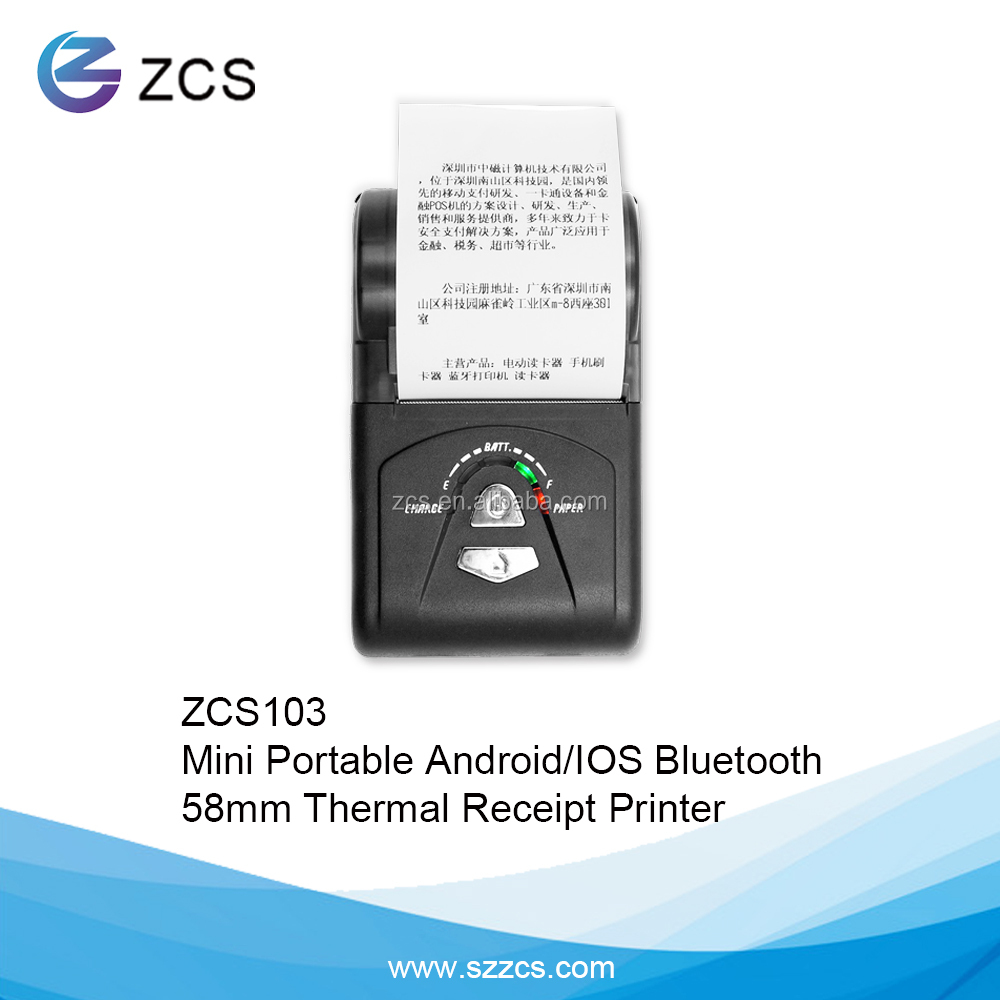 ZCS103 Factory 58mm Bluetooth Portable Thermal Printers ,Support Android & IOS SDK