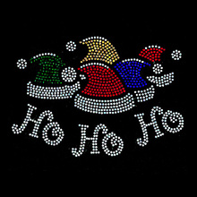 Beautiful Christmas Santa Crystal Bling HO HO HO Iron on Transfers Wholesale Rhinestones Machine for Clothes