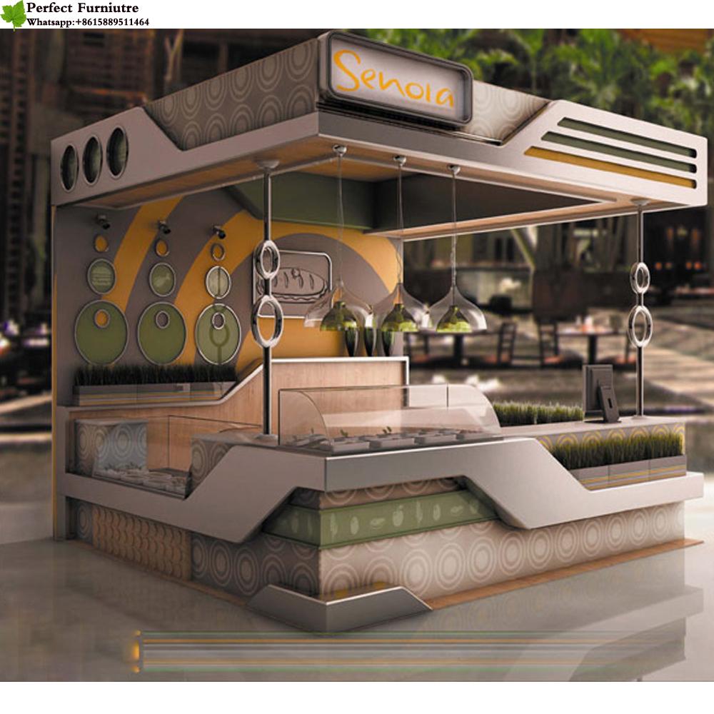 Customized mall bubble tea kiosk franchise design ideas juice bar kiosk manufacturer