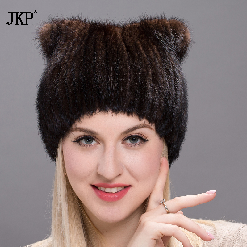 Winter women's hat genuine natural mink fur hats thick warm cap hats Russian caps DHY17-11