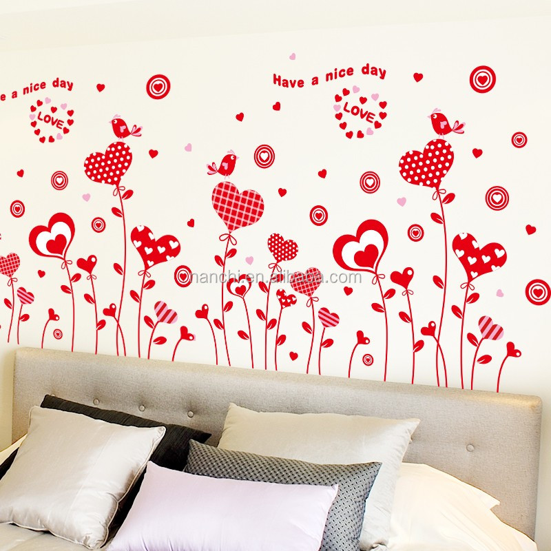 Happiness Love Grass Nice Love Wall Stickers Teens Lovers Bedroom Wedding Room  Wall Decor Romantic Red Part 68