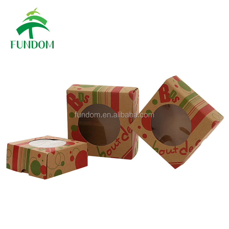 alibaba uk supplier logo printed single pieces chinese moon cup cake box kraft paper with window